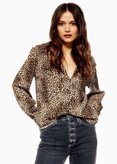 Topshop Tall Leopard Long Sleeve Shirt