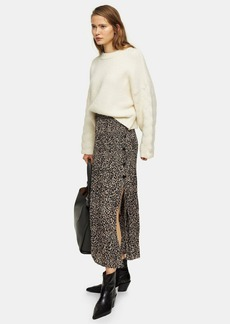 Topshop Tall Leopard Side Button Pleated Midi Skirt