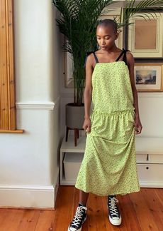 Topshop Clothing /Dresses /Tall Lime Green Tie Tiered Sun Dress
