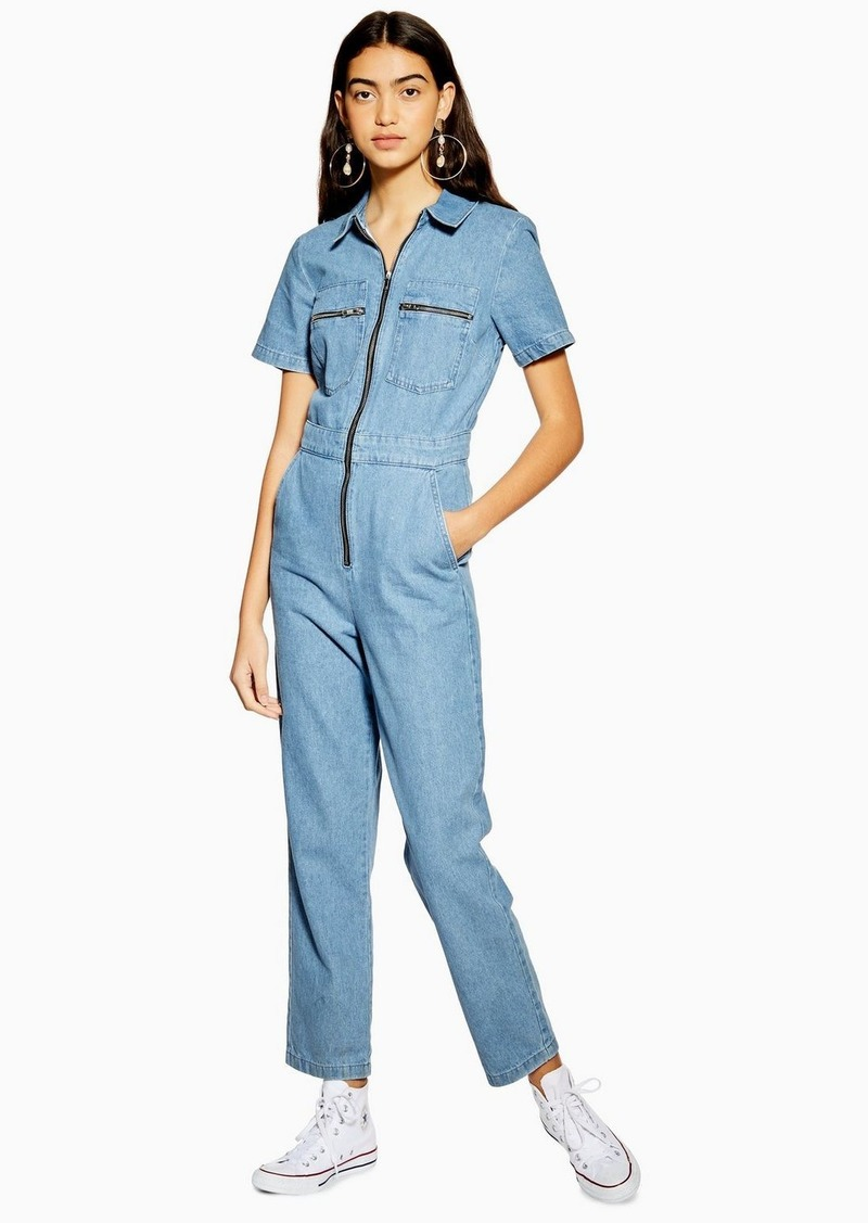 Topshop Tall Mid Stone Short Sleeve Boiler Suit