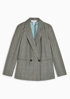 Topshop Tall Mint Check Double Breasted Blazer
