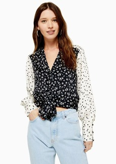 Topshop Tall Mix And Match Ditsy Tie Front Blouse