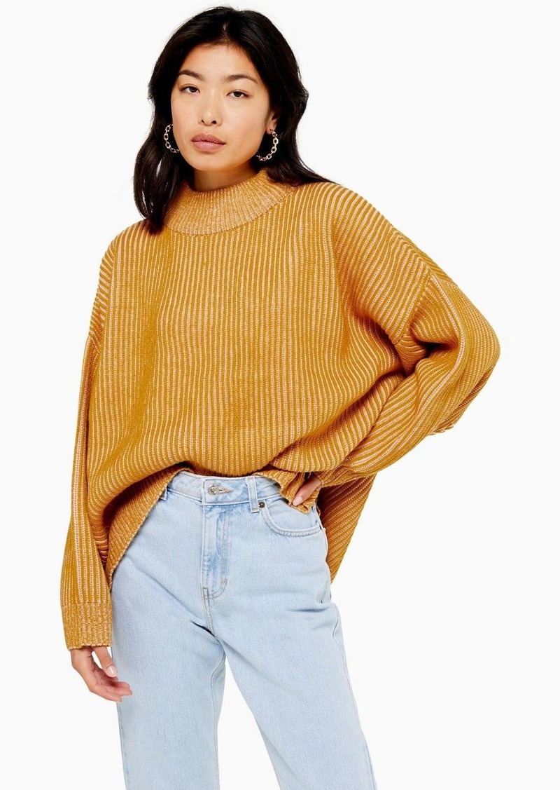 Topshop Tall Mustard Knitted Funnel Neck Sweater