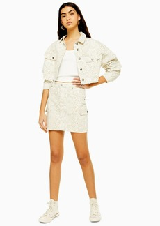 Topshop Tall Off White Snake Utility Denim Skirt