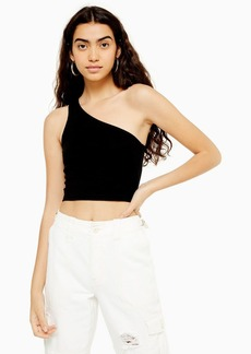 Topshop Tall One Shoulder Ribbed Top