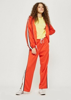 Topshop Tall Orange Popper Track Pants