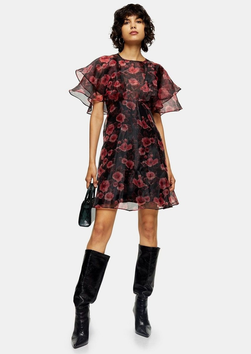 Topshop Tall Organza Floral Mini Dress