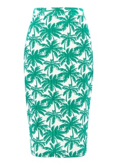 Tall Palm Print Pencil Skirt