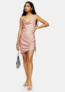 Topshop Tall Pink Ruched Mini Slip Dress
