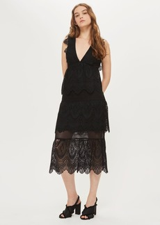 Topshop Tall Plunge Lace Layered Shift Dress
