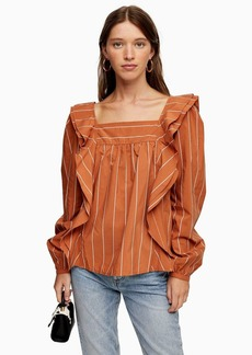 Topshop Tall Rust Stripe Ruffle Blouse