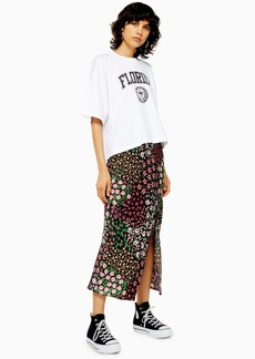 Topshop Tall San Diego Black Patchwork Floral Bias Skirt