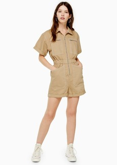Topshop Tall Sand Zip Playsuit