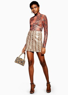 Topshop Tall Snake Print Popper Pu Mini Skirt