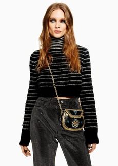 Topshop Tall Stripe Funnel Neck Cropped Jumper