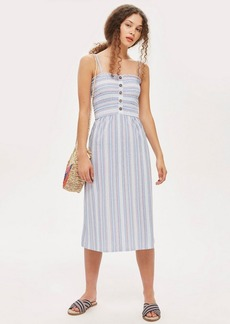 Topshop Tall Striped Shirred Midi Dress