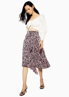 Topshop Tall Taylor Pink Animal Pleat Midi Skirt
