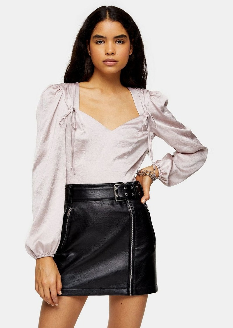 Topshop Tall Tie Shoulder Prairie Blouse