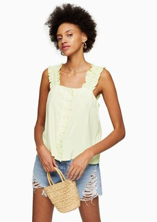 Topshop Clothing /Tops /Tall Lime Green Button Frill Cami