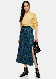 Topshop Tall Floral Crystal Print Pleated Skirt