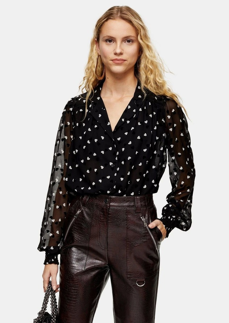 Topshop Tall Black And White Heart Flocked Shirt