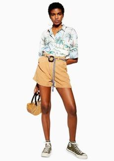 Topshop Tan Belted Lyocell Shorts