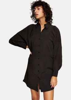 Topshop Clothing /Dresses /Black Technical Mini Shirt Dress
