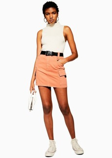 Topshop Teracotta Denim Clip Mini Skirt