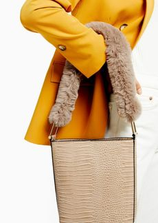 Topshop Tess Beige Tote Bag With Faux Fur