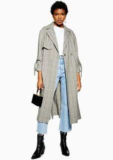 Topshop Textured Check Trench