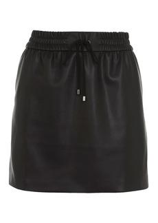 Tie Pocket Pu Pencil Skirt