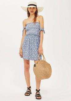 Topshop Tie Sleeve Print Bardot Dress
