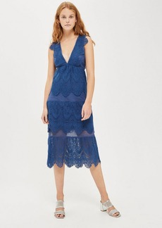 Topshop Tiered Lace Midi Dress