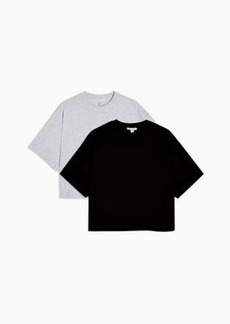 Topshop 2 pack boxy t-shirt in gray & black