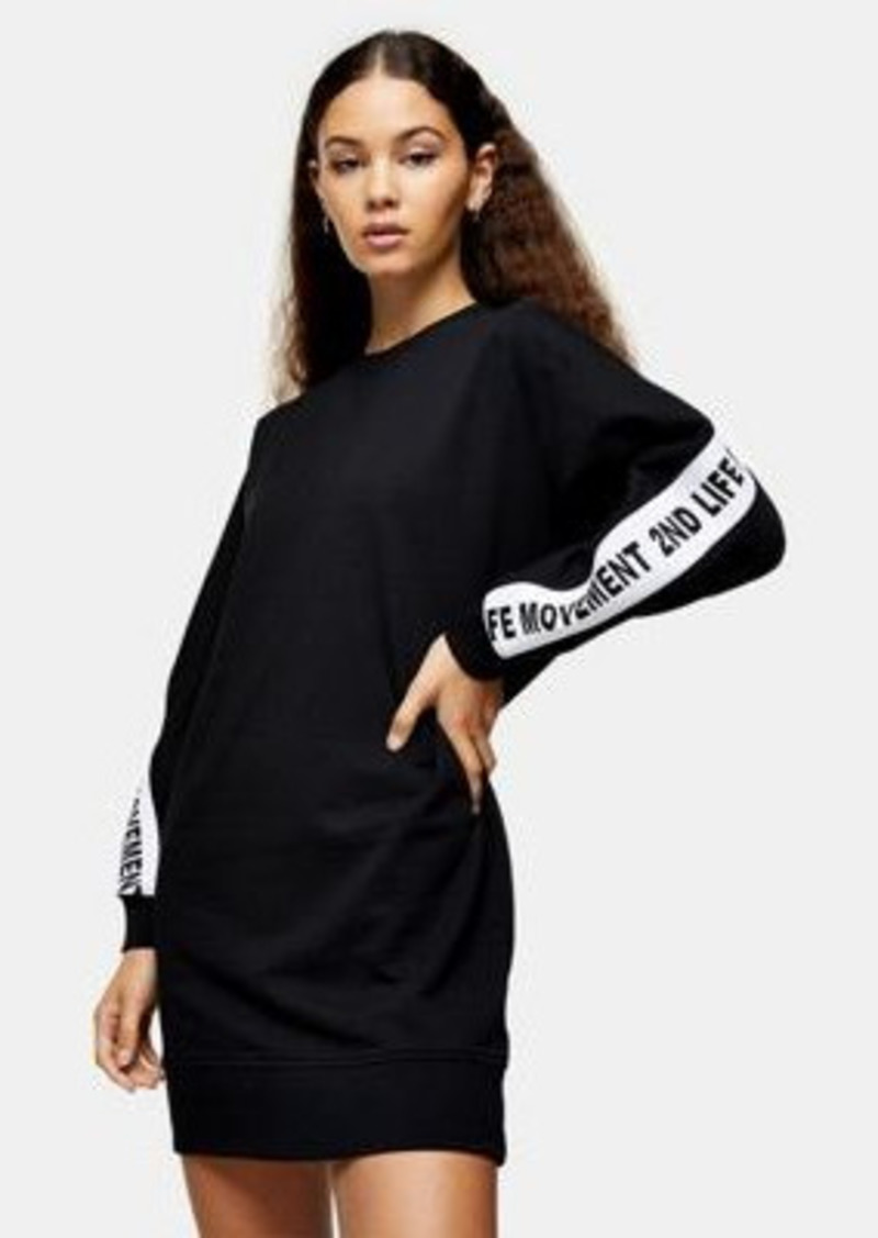 Topshop 2nd life slogan sweatshirt dress in black