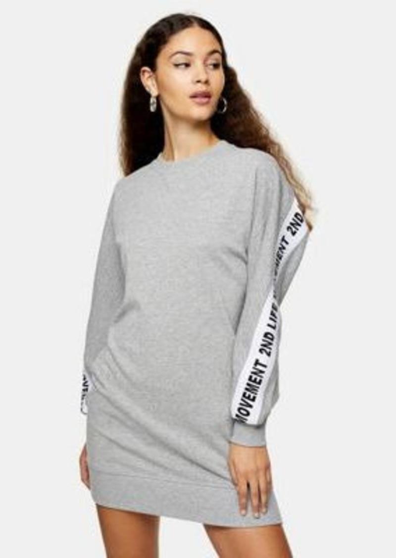 Topshop 2nd life slogan sweatshirt dress in heather gray