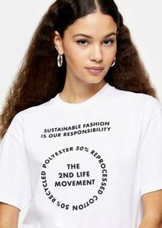 Topshop 2nd life slogan T-shirt in white