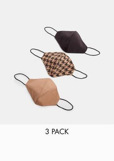 Topshop 3-pack face coverings in houndstooth