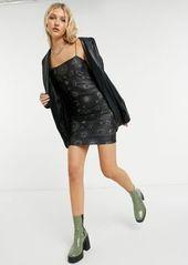 Topshop 90s strappy mini dress in black