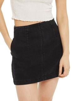 Topshop A-Line Denim Miniskirt