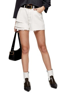 Topshop A-Line Ripped Denim Shorts