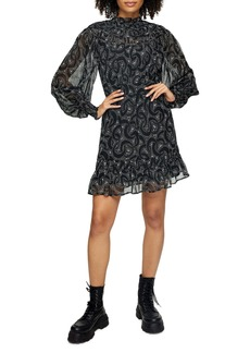 Topshop Abstract Print Long Sleeve Minidress