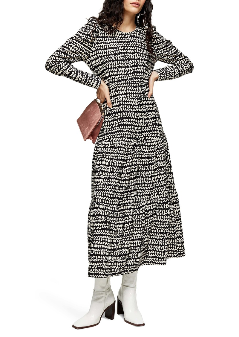 Topshop Abstract Tiered Long Sleeve Midi Dress