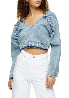Topshop Acid Wash Denim Crop Top
