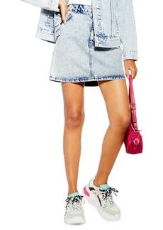 Topshop Acid Wash Denim Miniskirt