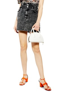Topshop Acid Wash Paperbag Waist Denim Skirt
