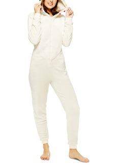 Topshop Alpaca Fleece Hooded Jumpsuit