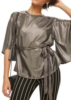 Topshop Angel Sleeve Sequin Blouse