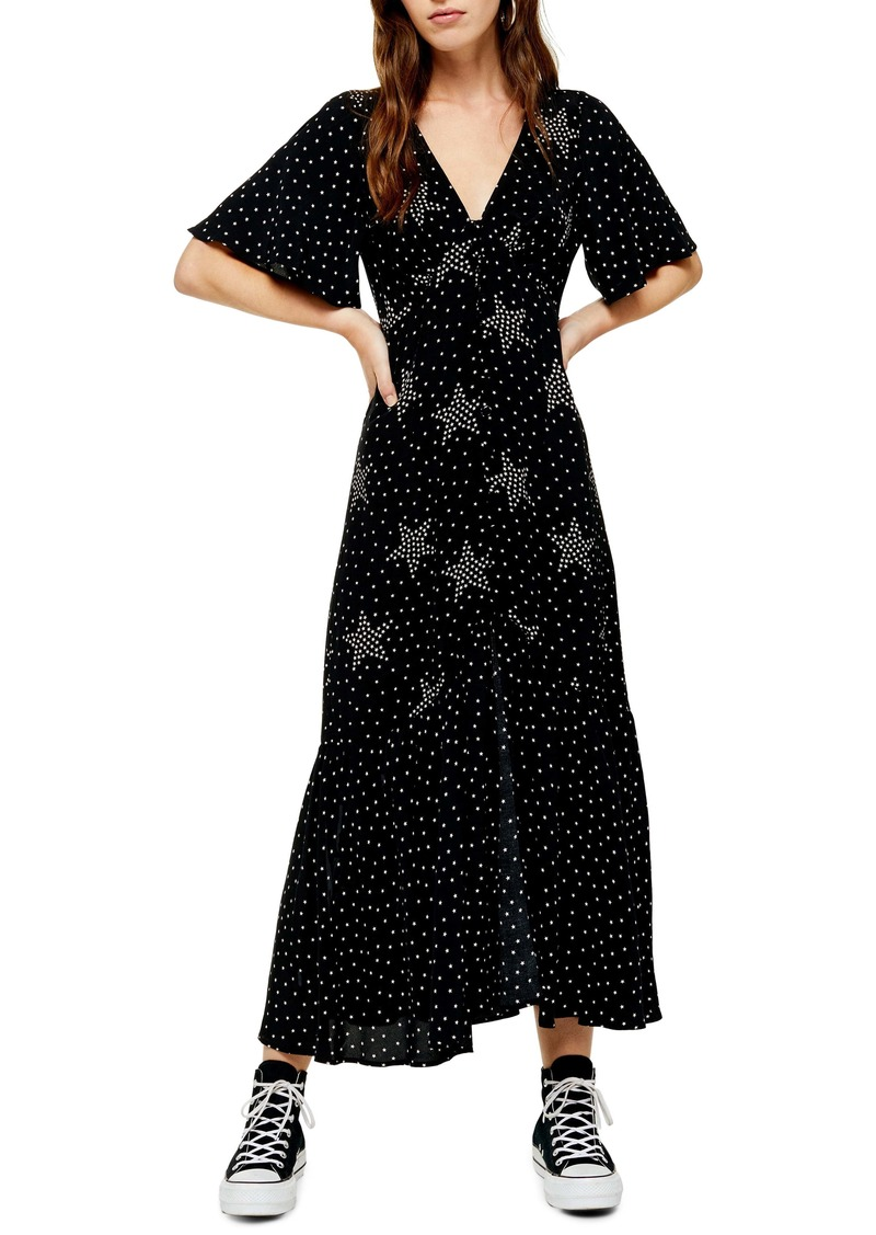 Topshop Angel Sleeve Star Print Maxi Dress