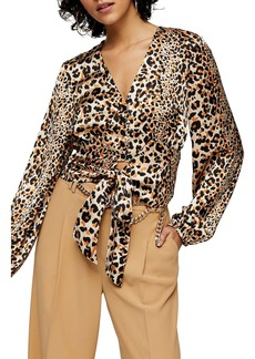 Topshop Animal Frill Tie Front Blouse